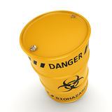 3D rendering biohazard barrel. 3D rendering yellow barrel with biologically hazardous materials Stock Photo