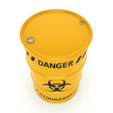 3D rendering biohazard barrel. 3D rendering yellow barrel with biologically hazardous materials Stock Photos