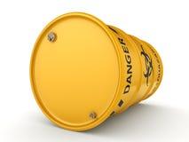 3D rendering biohazard barrel. 3D rendering yellow barrel with biologically hazardous materials Royalty Free Stock Image