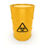 3D rendering biohazard barrel. 3D rendering yellow barrel with biologically hazardous materials Royalty Free Stock Images
