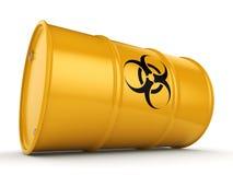 3D rendering biohazard barrel. 3D rendering yellow barrel with biologically hazardous materials Stock Photo