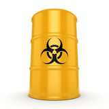 3D rendering biohazard barrel. 3D rendering yellow barrel with biologically hazardous materials Stock Photography