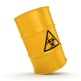 3D rendering biohazard barrel. 3D rendering yellow barrel with biologically hazardous materials Stock Images