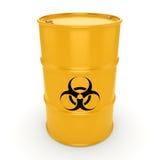 3D rendering biohazard barrel. 3D rendering yellow barrel with biologically hazardous materials Royalty Free Stock Photos