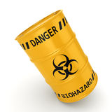 3D rendering biohazard barrel. 3D rendering yellow barrel with biologically hazardous materials Stock Photos