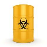 3D rendering biohazard barrel. 3D rendering yellow barrel with biologically hazardous materials Royalty Free Stock Photo