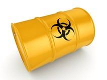 3D rendering biohazard barrel. 3D rendering yellow barrel with biologically hazardous materials Stock Image