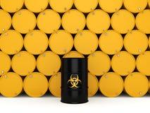 3D rendering biohazard barrels Royalty Free Stock Image