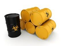 3D rendering biohazard barrels Stock Photography