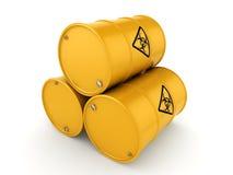 3D rendering biohazard barrels Royalty Free Stock Photography