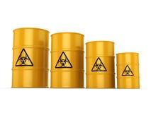 3D rendering biohazard barrels Royalty Free Stock Photo