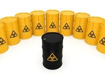 3D rendering biohazard barrels Royalty Free Stock Images