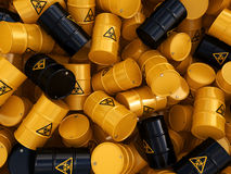 3D rendering biohazard barrels. 3D rendering yellow barrels with biologically hazardous materials Stock Image