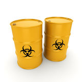 3D rendering biohazard barrels. 3D rendering yellow barrels with biologically hazardous materials Royalty Free Stock Photos