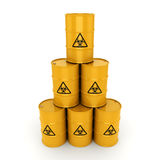 3D rendering biohazard barrels. 3D rendering yellow barrels with biologically hazardous materials Royalty Free Stock Image