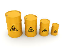 3D rendering biohazard barrels. 3D rendering yellow barrels with biologically hazardous materials Royalty Free Stock Photo