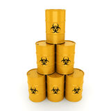 3D rendering biohazard barrels. 3D rendering yellow barrels with biologically hazardous materials Stock Photography