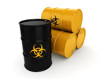 3D rendering biohazard barrels. 3D rendering yellow barrels with biologically hazardous materials Royalty Free Stock Images