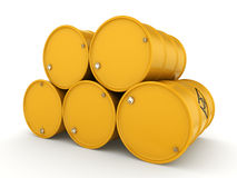 3D rendering biohazard barrels. 3D rendering yellow barrels with biologically hazardous materials Royalty Free Stock Photography