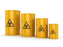 3D rendering biohazard barrels. 3D rendering yellow barrels with biologically hazardous materials Stock Photo