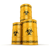 3D rendering biohazard barrels. 3D rendering yellow barrels with biologically hazardous materials Stock Photos