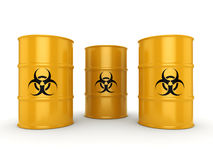 3D rendering biohazard barrels. 3D rendering yellow barrels with biologically hazardous materials Stock Images