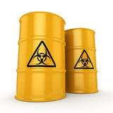 3D rendering biohazard barrels Stock Photo