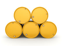 3D rendering biohazard barrels. 3D rendering yellow barrels with biologically hazardous materials royalty free illustration