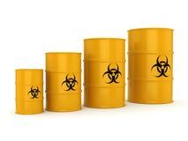 3D rendering biohazard barrels. 3D rendering yellow barrels with biologically hazardous materials Royalty Free Stock Photos