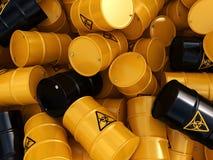 3D rendering biohazard barrels. 3D rendering yellow barrels with biologically hazardous materials Stock Image