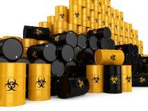 3D rendering biohazard barrels. 3D rendering yellow barrels with biologically hazardous materials Stock Photos