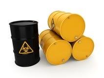 3D rendering biohazard barrels. 3D rendering yellow barrels with biologically hazardous materials Royalty Free Stock Images