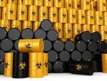 3D rendering biohazard barrels. 3D rendering yellow barrels with biologically hazardous materials Royalty Free Stock Photography