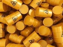 3D rendering biohazard barrels. 3D rendering yellow barrels with biologically hazardous materials Stock Photo