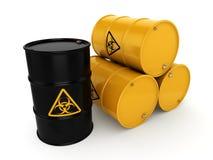 3D rendering biohazard barrels. 3D rendering yellow barrels with biologically hazardous materials Stock Photography