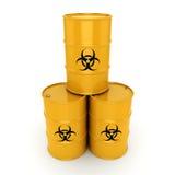 3D rendering biohazard barrels. 3D rendering yellow barrels with biologically hazardous materials Stock Images