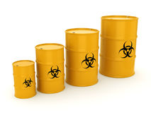 3D rendering biohazard barrels. 3D rendering yellow barrels with biologically hazardous materials Royalty Free Stock Photo