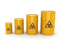 3D rendering biohazard barrels. 3D rendering yellow barrels with biologically hazardous materials Royalty Free Stock Image