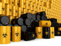 3D rendering biohazard barrels Royalty Free Stock Images