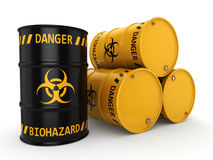 3D rendering biohazard barrels Stock Photos