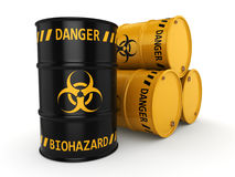 3D rendering biohazard barrels. 3D rendering yellow and black barrels with biologically hazardous materials Stock Photography