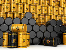 3D rendering biohazard barrels. 3D rendering yellow and black barrels with biologically hazardous materials Royalty Free Stock Photo