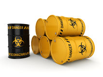 3D rendering biohazard barrels. 3D rendering yellow and black barrels with biologically hazardous materials Royalty Free Stock Photography
