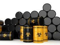3D rendering biohazard barrels. 3D rendering yellow and black barrels with biologically hazardous materials Stock Photo