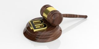 3d rendering bitcoin and an auction gavel. On a white background Royalty Free Stock Images