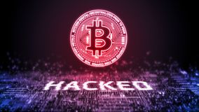 3D rendering bitcoin BTC siekał nad cyfrowym binarnym tłem Crypto waluta, rynek wymiana, handlarska platforma obrazy stock