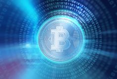 3d rendering of Bitcoin on financial graph background. Bitcoin and Block chain network  concept on financial graph background 3d illustration Stock Images