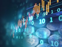3d rendering of Bitcoin on financial graph background. Bitcoin and Block chain network  concept on financial graph background 3d illustration Royalty Free Stock Photography