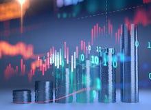 3d rendering Bitcoin na pieniężnym wykresu tle Obrazy Stock