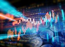 3d rendering Bitcoin na pieniężnym wykresu tle Obrazy Royalty Free